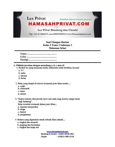 Soal Kelas 5 Tema 3 Subtema 2 Makanan Sehat Bank Soal Hamasahprivat Com