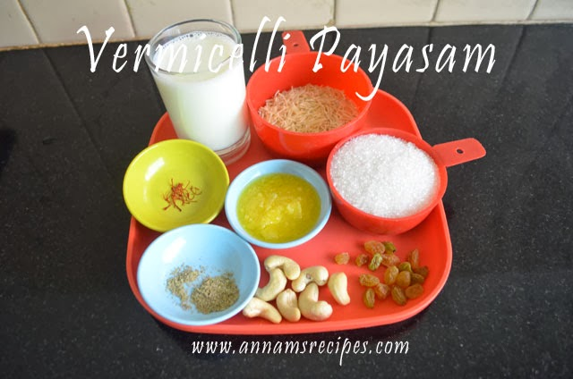 Semiya Payasam or Vermicelli Payasam