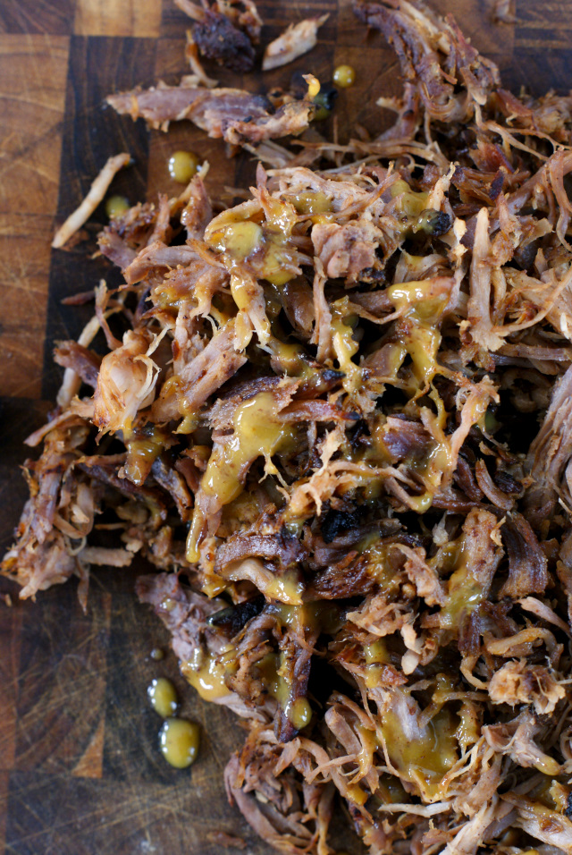 Oven Roasted Pulled Pork with Honey Mustard BBQ Sauce | thetwobiteclub.com