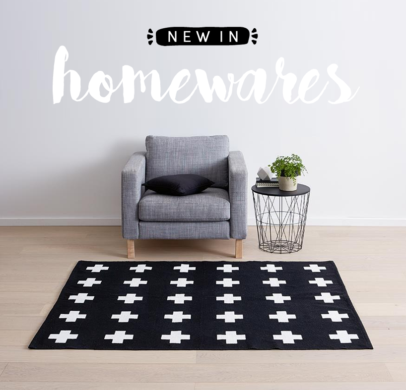 kmart black and white cross rug