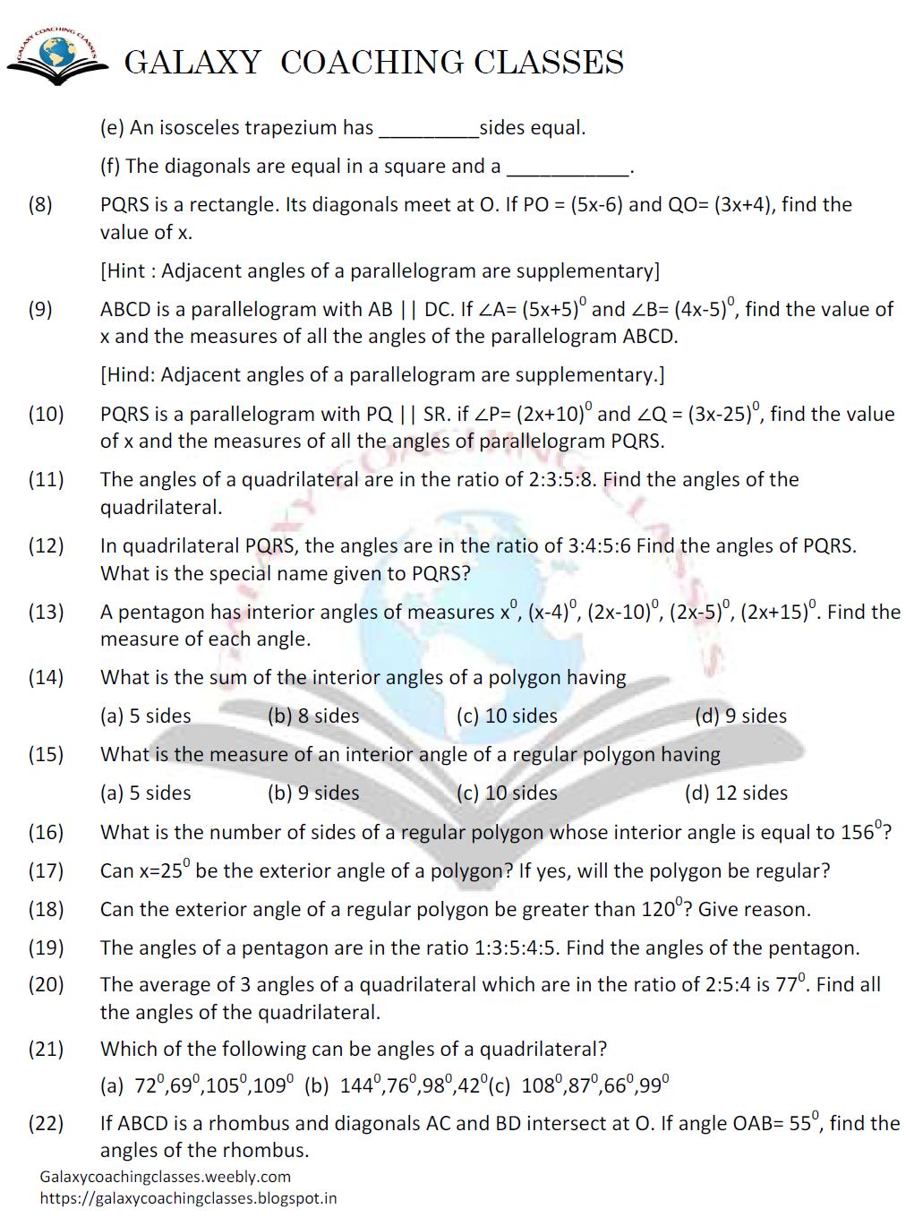 Gadgetomenia Galaxy Coaching Classes Worksheet Class 8 Chapter 3 Understanding Quadril