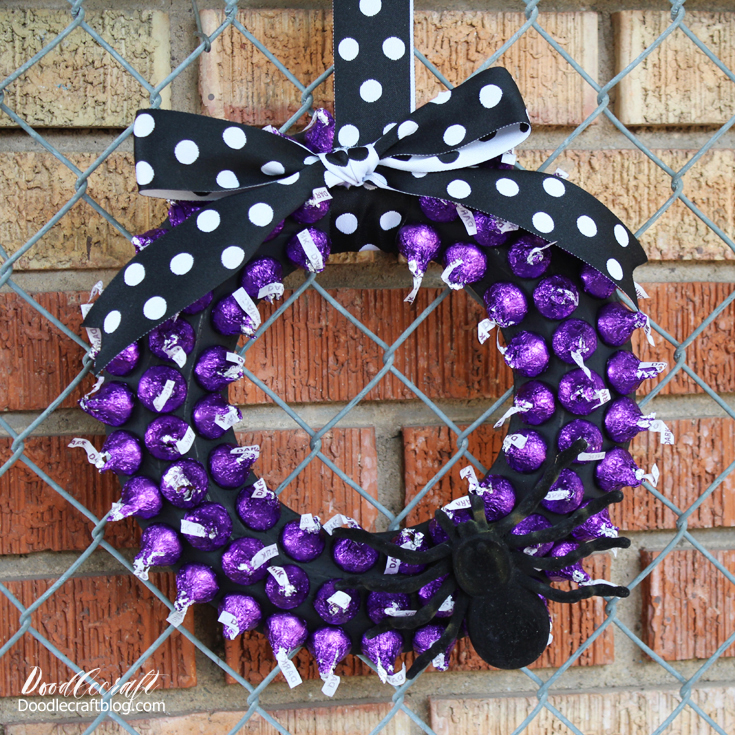 Make a simple and fast wreath with Floracraft and Hershey's kisses!