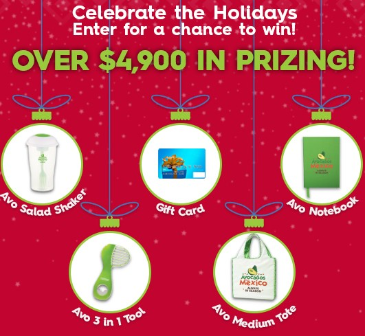 Avocados From Mexico wants you to celebrate the holidays by entering daily for your chance to win gift cards and other great prizes!