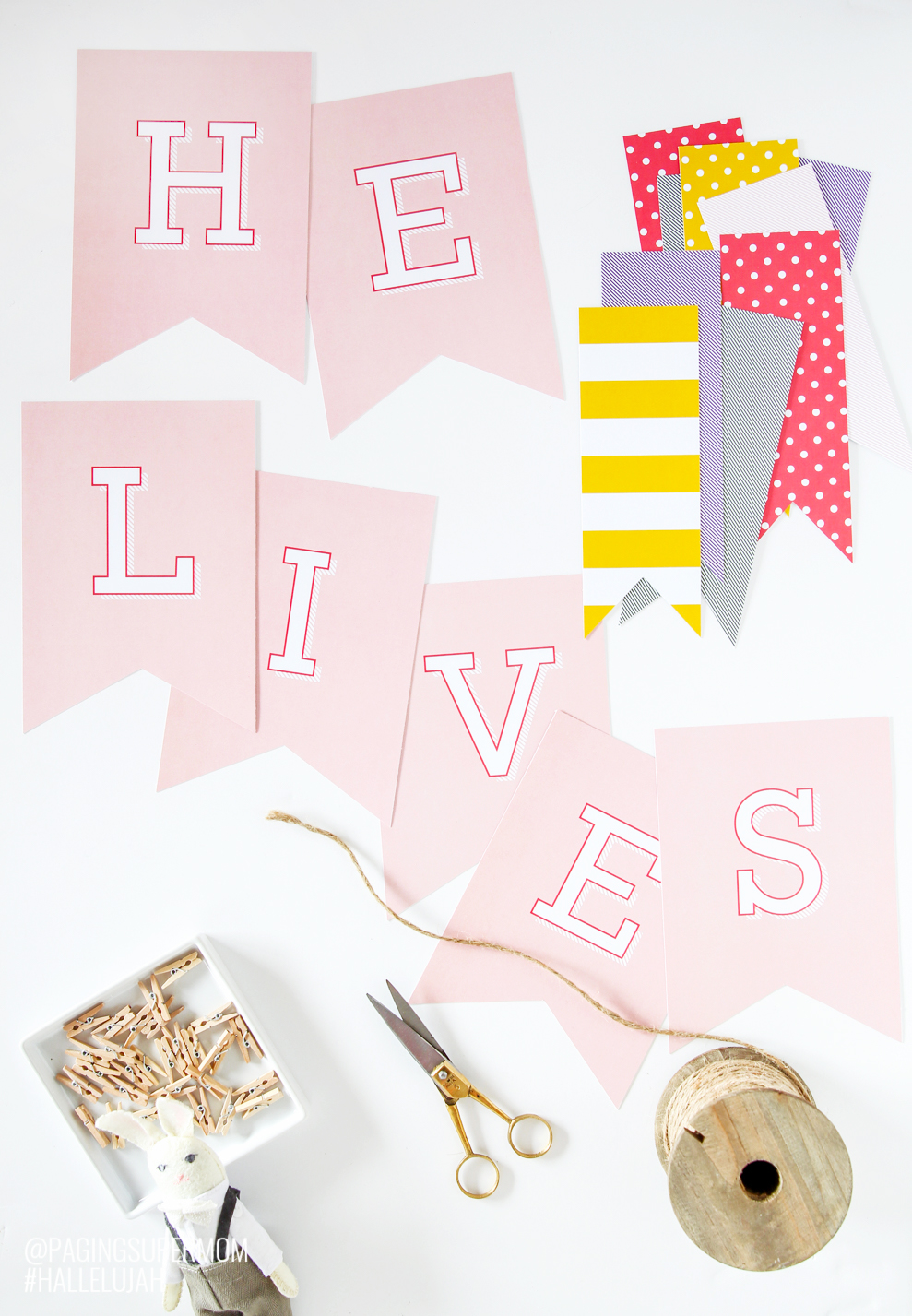 picture regarding Happy Easter Banner Printable called Cost-free Printable Easter Banner and Desk Decor Generating Lifestyle