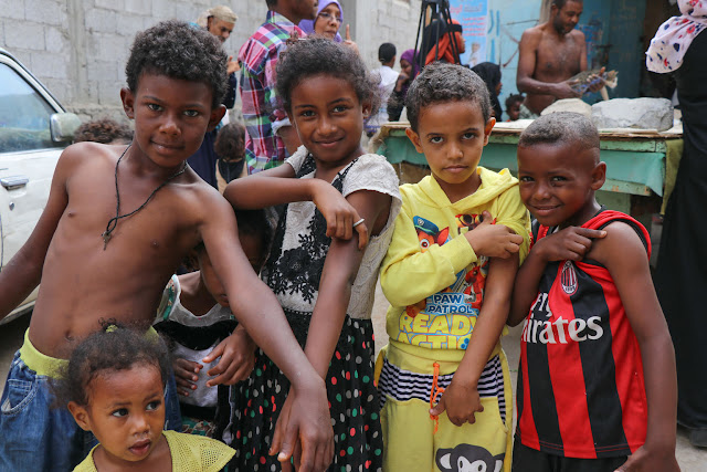 On 9 February 2019 in Yemen, children vaccinated in Aden during a mobile Measles and Rubella vaccination campaign