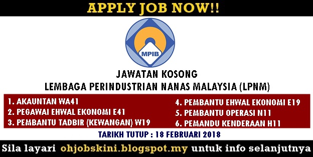 Jawatan Kosong Lembaga Perindustrian Nanas Malaysia (LPNM)