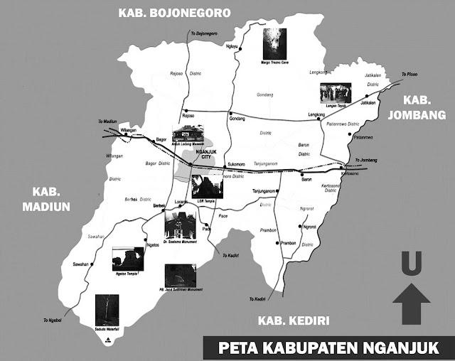 Gambar Peta Nganjuk Hitam Putih