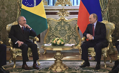 Russian President and Michel Temer in the Kremlin.