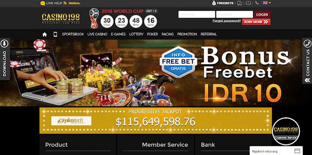 freebet bola 10.000 dan bonus deposit 10% oleh casino198 diawal
