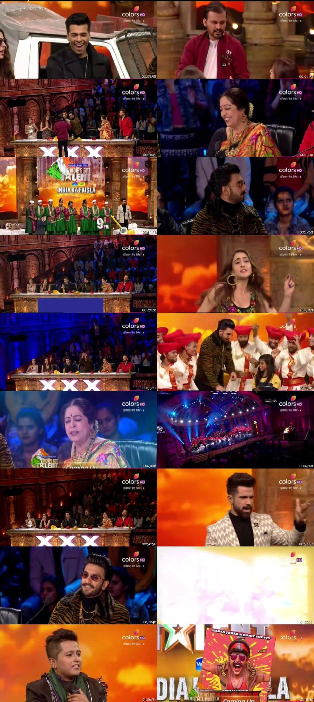 Screenshots Of Hindi Show India's Got Talent 2018 Season 08 Episode 20 23rd December 300MB 480P HD