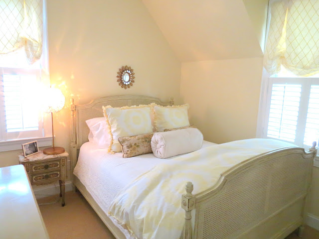 white and yellow bedroom french country