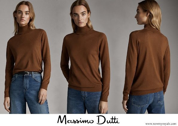 Meghan Markle wore Massimo Dutti Toffee Brown Plain Silk Wool Sweater