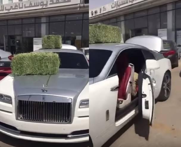شاهدوا ماذا فعل أمير سعودي بوكيل سيارته رولز رويس !!  وضع أغنام وعَلَفْ مواشي على السيارة ..ما السبب؟!
