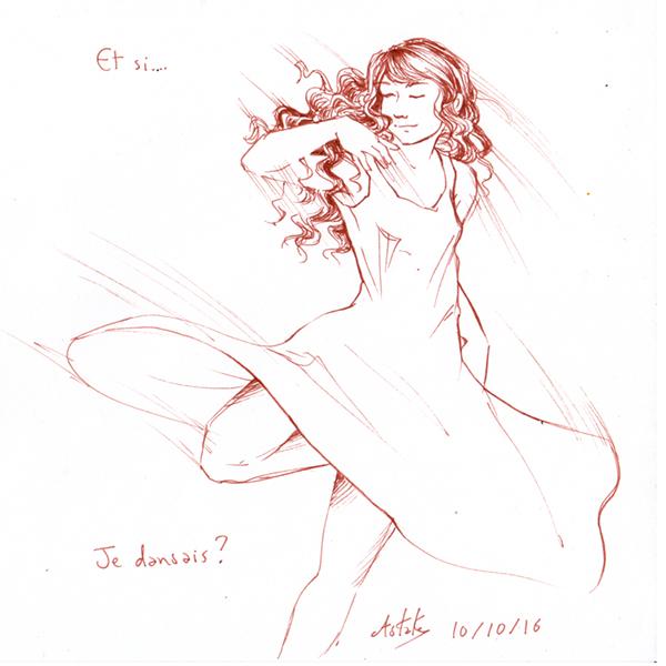 Une fille qui danse - inktober
