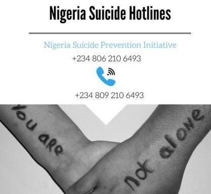 suicide prevention help line nigeria