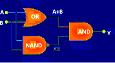 """Equivalent circuit for """"Exclusive OR"""" gate"""