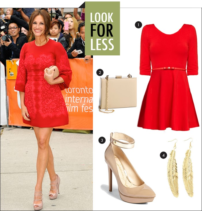 dolce gabbana red dress, skater dress, platform pumps, gold jewelry, box clutch