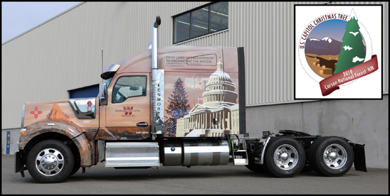 Special 2019 Kenworth W990 that will be hauling the 55th U.S. Capitol Christmas Tree