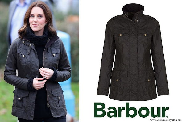 Kate Middleton wore Barbour Ladies Waxed Defence Jacket