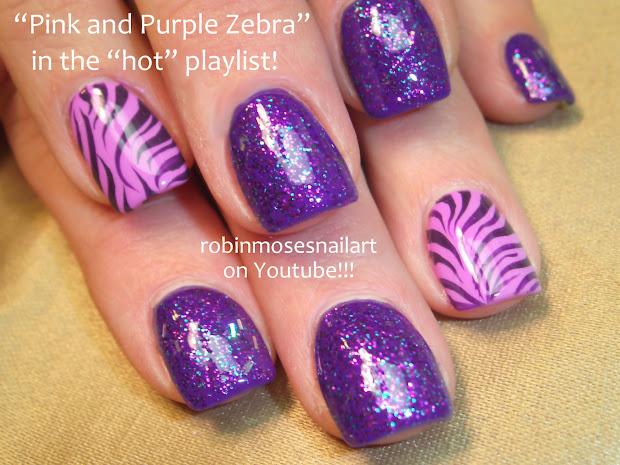 Pink and Purple Zebra Nails