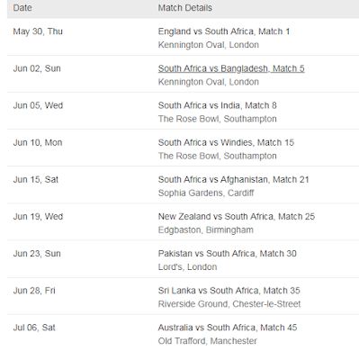 South Africa Cricket World Cup 2019 Schedule