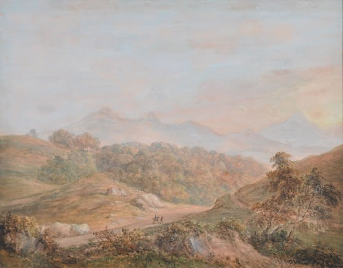 Photograph of picture: Title: Cader Idris near Dolgelly. Artist: Paul Sandby (1731-1809) Image copyright of the Hamilton Gallery reproduced here with permission