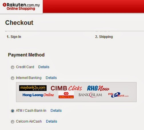 Payment methods available at Rakuten