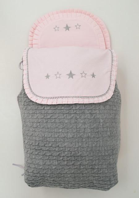 colcha capazo lana gris rosa