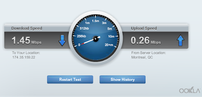 screen shot of Ookla Speed Test built into my router, showing 1.45mbps down and 0.26mbps Upload for my Xplornet Internet Speeds