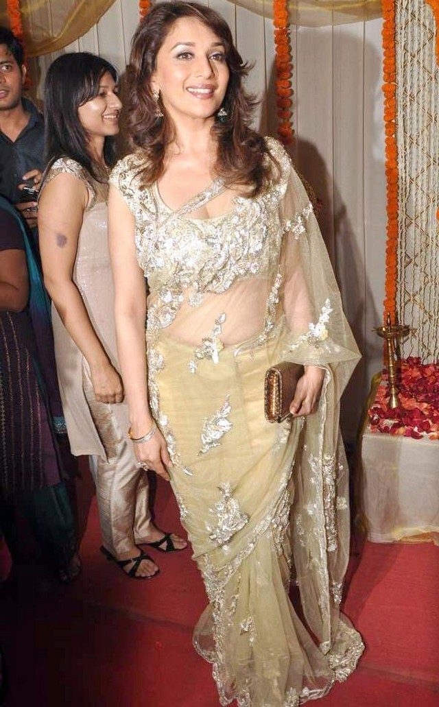 Indian Actress Hot Women Madhuri Dixit Yellow Designer Saree