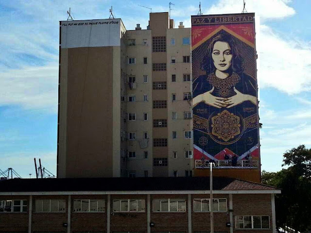 """Paz Y Libertard"" New Street Art Mural By American Artist Shepard Fairey For Maus Malaga In Spain. 35"