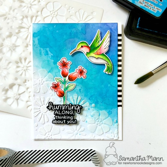 Hummingbird Card by Samantha Mann   Hummingbird Stamp Set and Bold Blooms Stencil by Newton's Nook Designs #newtonsnook #handmade