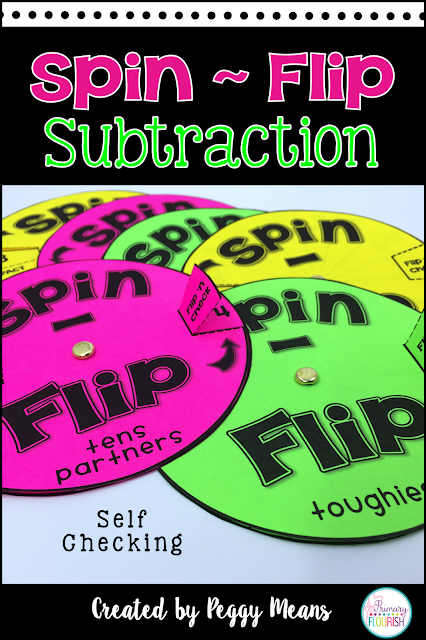 Increase math fact fluency in subtraction  with these fun Spin and Flip Spinners.  They are self-checking so they are great for independent practice and even homework.