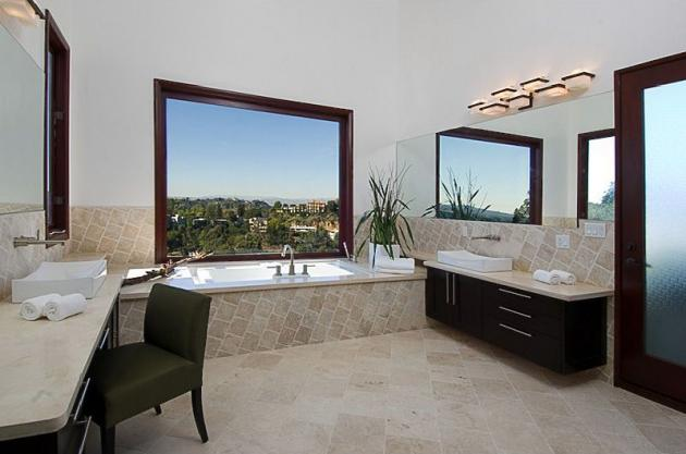 Picture of modern bathroom inside of Rihanna's house