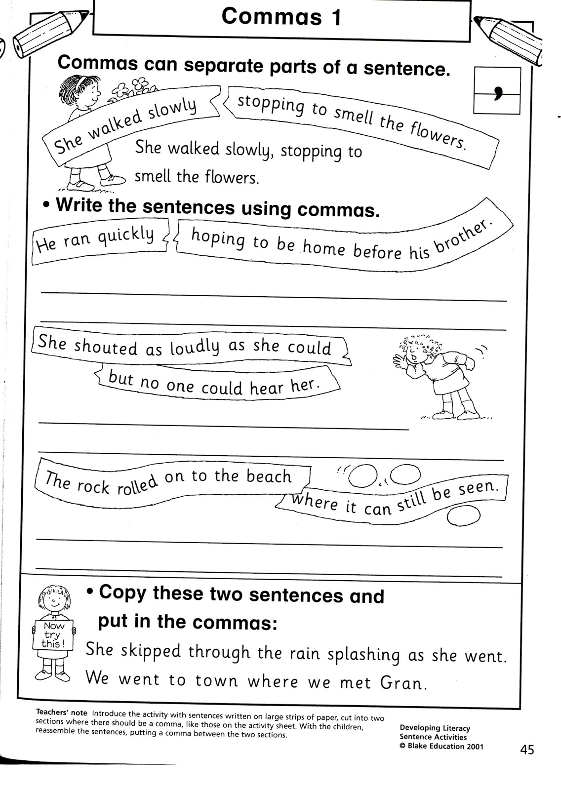 Comma Worksheet Ks2