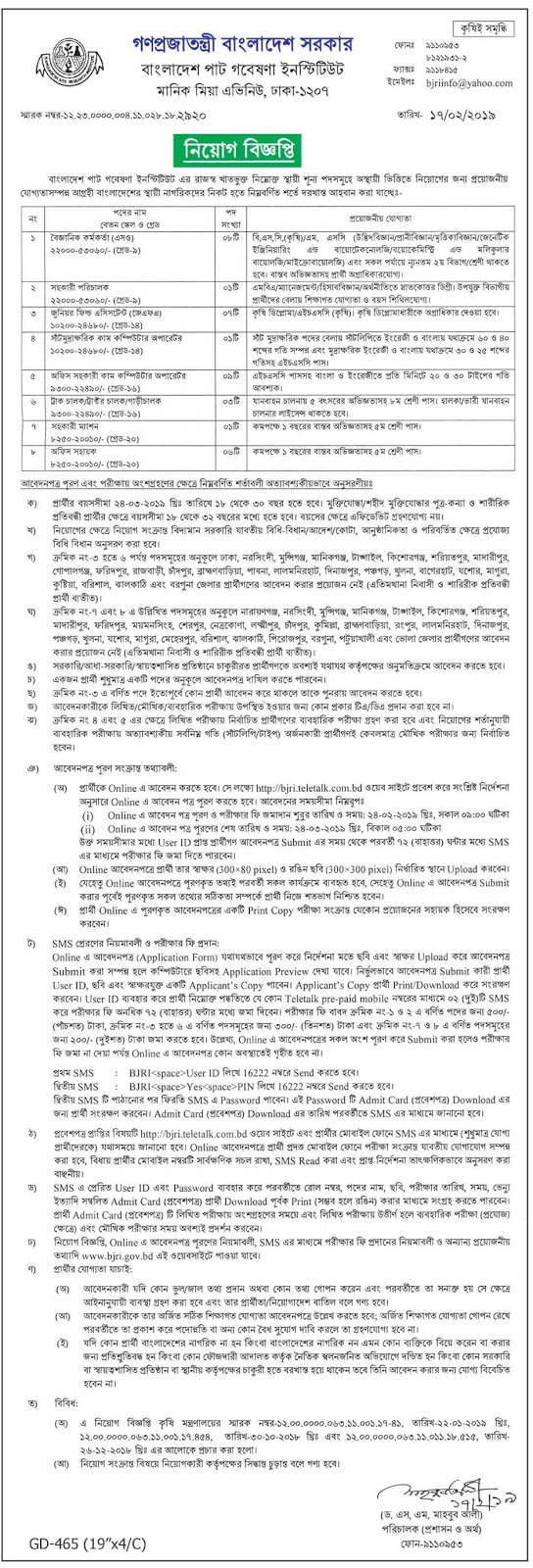 Bangladesh Jute Research Institute Job Circular 2019