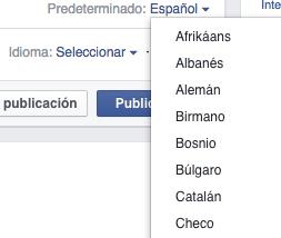 publicaciones facebook muchos idiomas