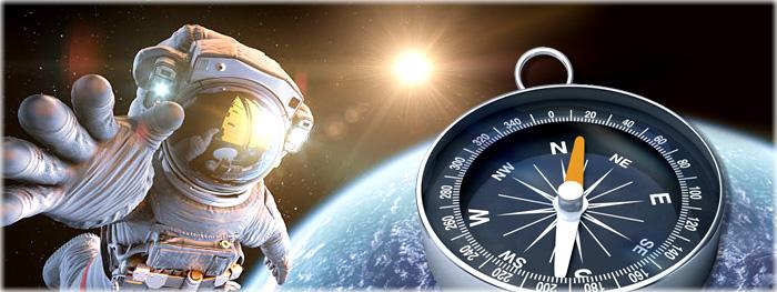 o que acontece com uma bússola no espaço