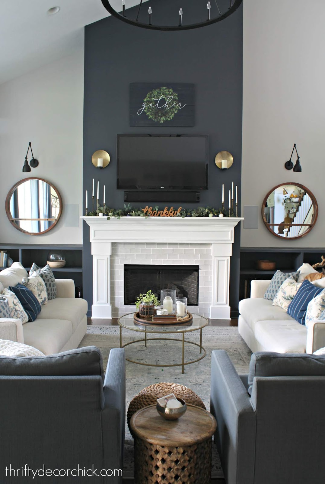 Dark accent wall on fireplace (cyberspace)