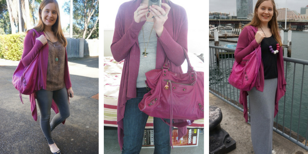 3 outift ideas purple cardigan and matching magenta Balenciaga day bag