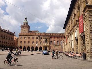One corner of Bologna's central Piazza Maggiore