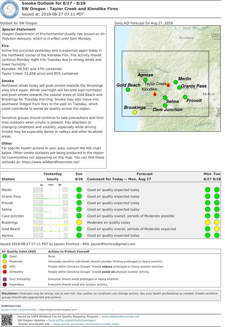 smoke outlook update for southwest oregon taylor creek and klondike fires for monday and tuesday aug 27 28 2018
