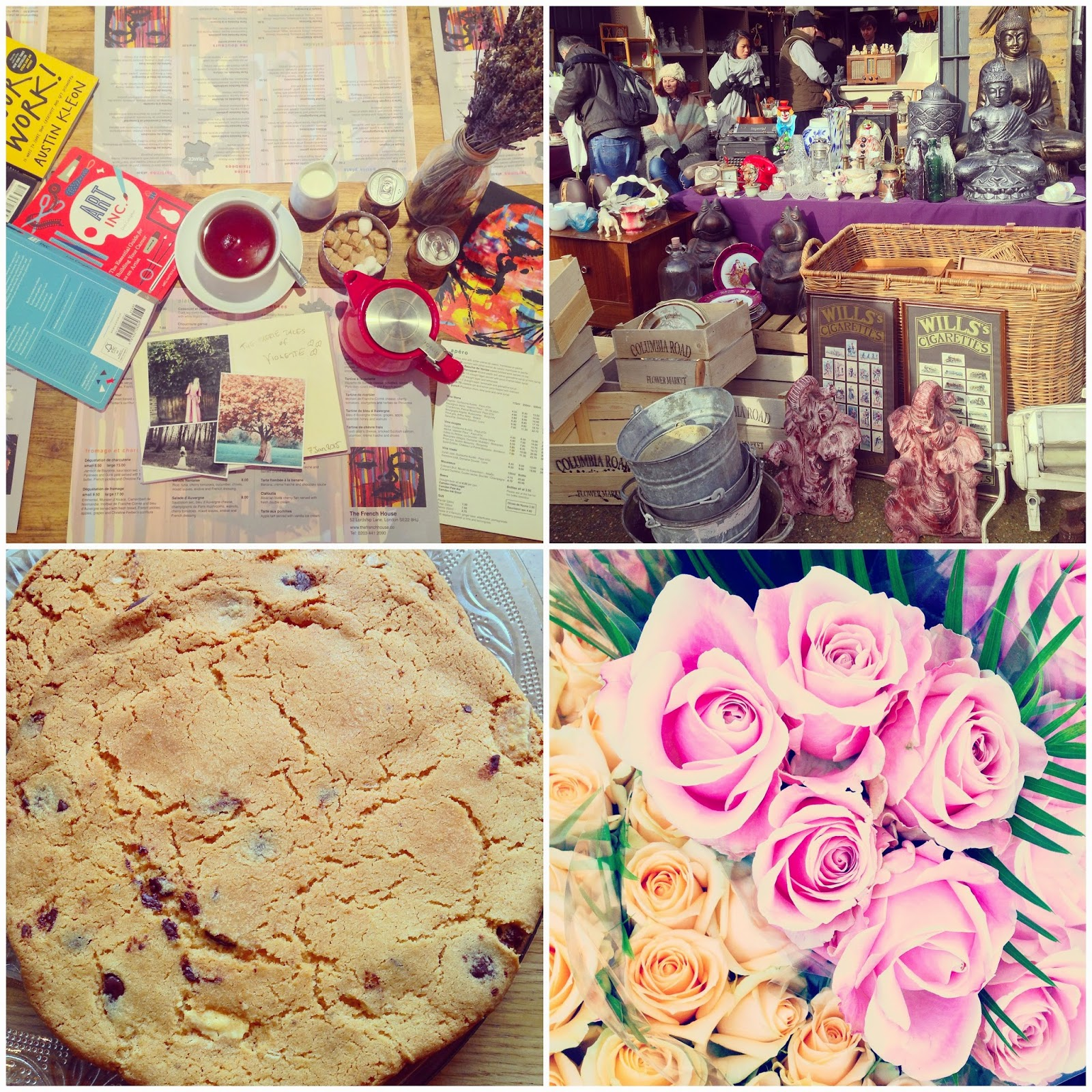 The French House Cafe, Columbia Road Flower market and a chocolate cookie from The Albion Cafe