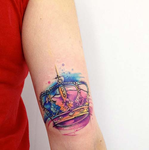 watercolor vrown tattoo tumblr renkli taç dövmeleri