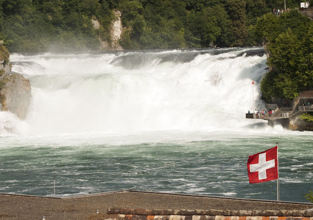 Rhine Falls and Swiss Flag on a day trip from Zurich