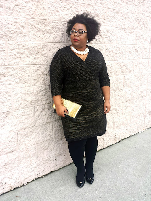 plus size sweater dress, lane bryant, plus size tights, pearl baubles