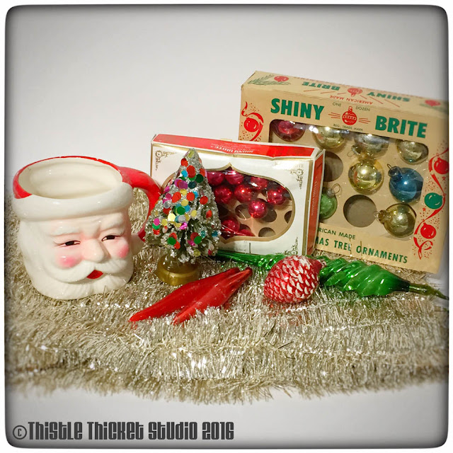 Thistle Thicket Studio, vintage santa mug, vintage Christmas ornaments, vintage arrangement