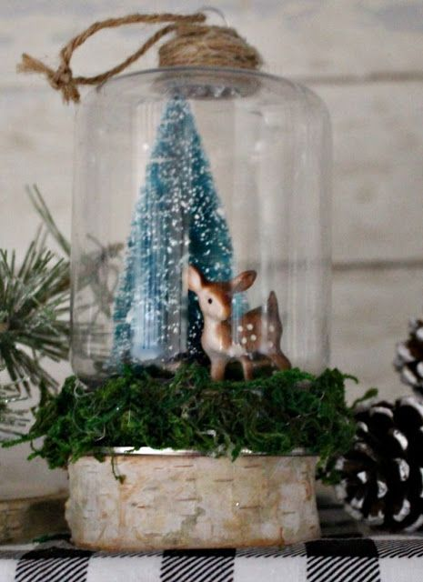 DIY Dollar Store Woodland Snow Globe Christmas Ornament