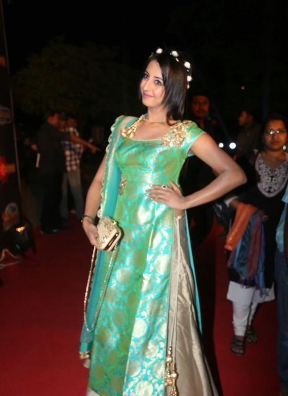 Actress At Gemini TV Awards In Green Dress Sanjana