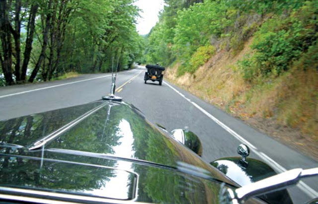 The Motoring Classic convoying down a California Highway on its way to the 68th annual Pebble Beach Concours d'Elegance